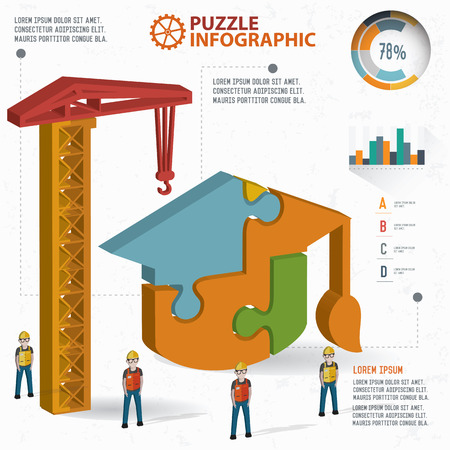 three dimension: Hat of education puzzle info graphic design,three dimension,clean vector