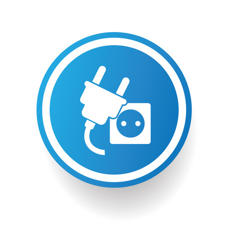 electric blue: Plug design icon on blue button,white background,clean vector Illustration