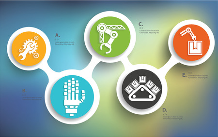 Mechanical and industry design on blur background,info graphic design,clean vector Vectores
