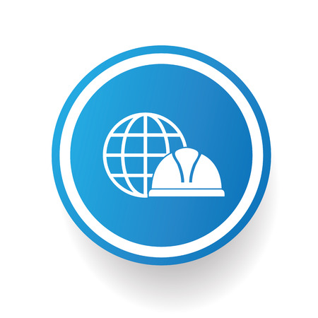 mine site: Safety hat,industry icon design on blue button,white background,clean vector