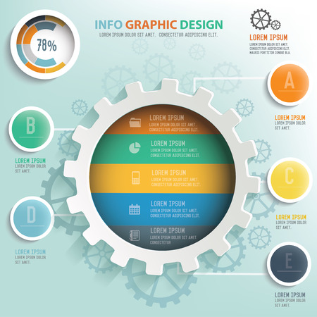 business gears: Gear info graphic design, Business concept design. Clean vector. Illustration