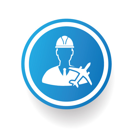 airplane icon: Engineering,airplane icon design on blue button,white background,clean vector