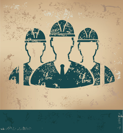 work hard: Engineering design on old paper background,grunge concept,vector Illustration