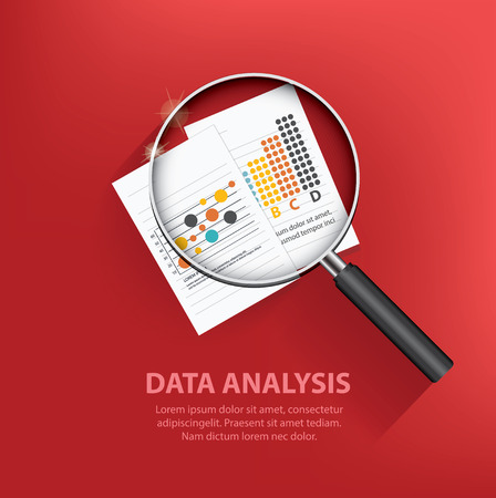 데이터 분석 검색, 빨간색 배경에 비즈니스 개념 디자인, 깨끗한 벡터 일러스트