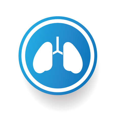 respire: Lung design icon on blue button,white background,clean vector