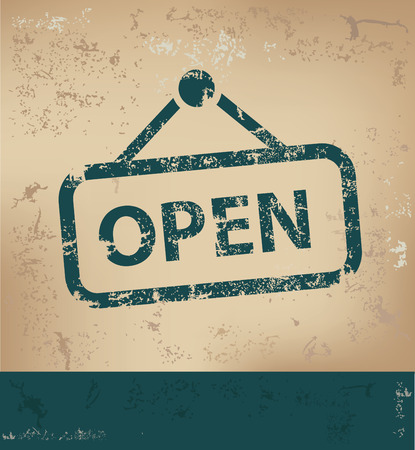 doorhandle: Open design on old paper background,grunge concept,vector