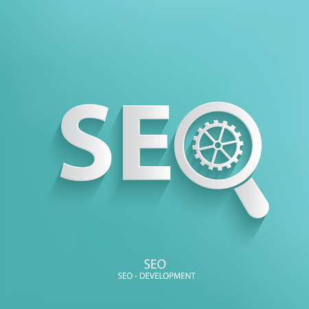 computer services: SEO design on blue background,clean vector Illustration