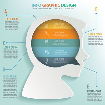 basal ganglia: Head info graphic design, Business concept design. Clean vector.
