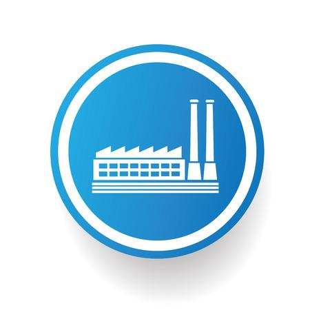 electricidad industrial: Fábrica, diseño icono de la industria en el botón azul, fondo blanco, vector limpia