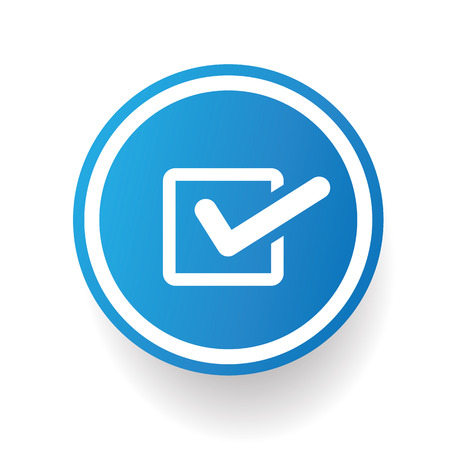 Checking icon on blue button,white background,clean vector