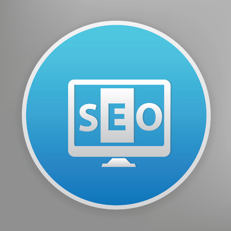 optimizing: SEO design icon on blue button,clean vector