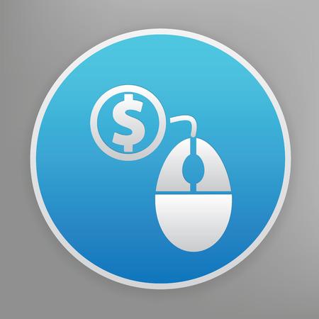 advertiser: Pay per click sull'icona disegno sul pulsante blu, vettore pulito