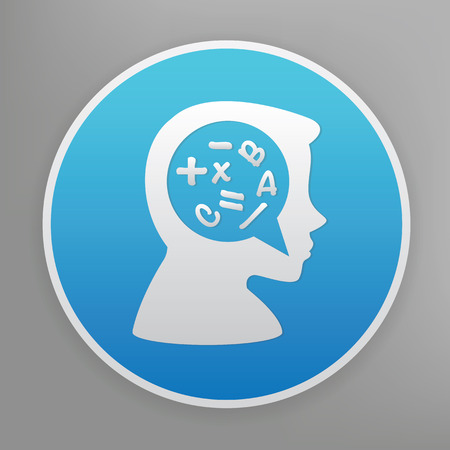 rationality: Brain storm design icon on blue button,clean vector