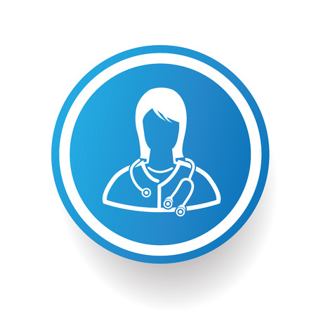 physiotherapist: Doctor design icon on blue button,white background,clean vector Illustration