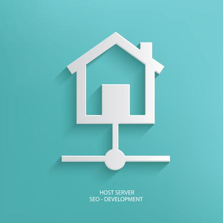webhosting: Host server design on blue background,clean vector