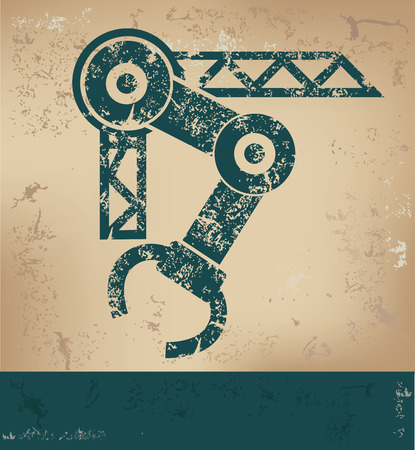 factory automation: Mechatronic design on old paper background,grunge concept,vector
