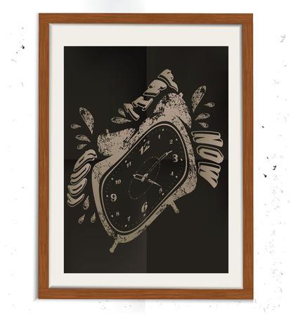 Diseño del reloj en bastidor de madera, el concepto retro, diseño del grunge en el fondo antiguo, limpio vector Foto de archivo - 42082070