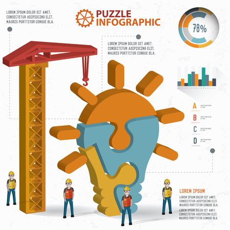 three dimension: Light bulb puzzle info graphic design,three dimension,clean vector Illustration