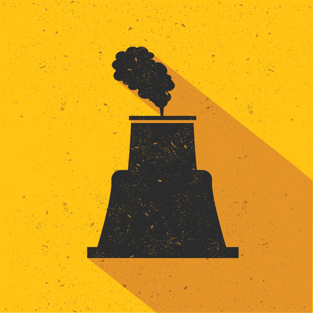 powerhouse: Nuclear industry design on yellow background,retro yellow background,clean vector Illustration