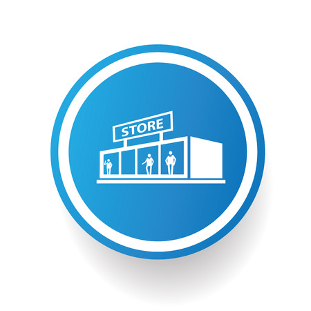 general merchandise: Shopping store icon on blue button,white background,clean vector