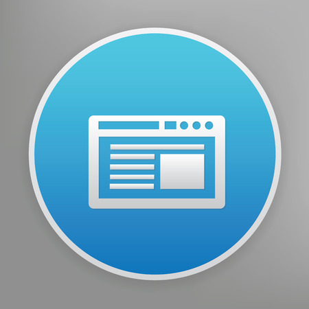 signage: Software design icon on blue button,clean vector Illustration