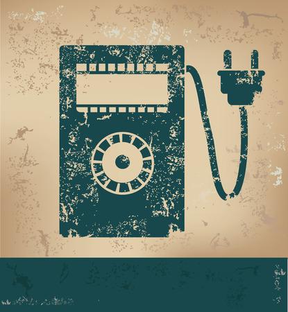 contador electrico: Diseño eléctrico metro en el fondo de papel viejo, el concepto del grunge, el vector