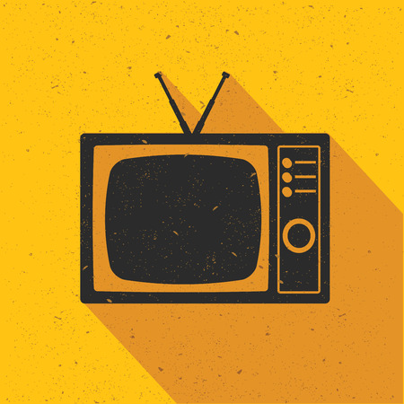 switcher: Television icon design on yellow background,flat design,clean vector