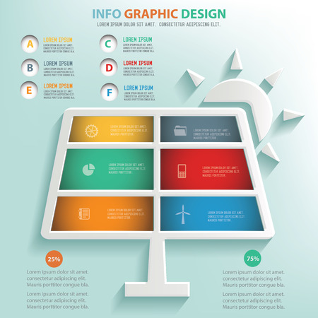 powerhouse: Solar sun info graphic design, Business concept design.