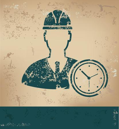 old paper background: Engineering design on old paper background Illustration