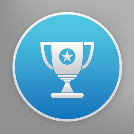 blue button: Trophy design icon on blue button Illustration