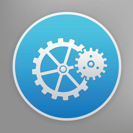 blue button: Gear design icon on blue button Illustration