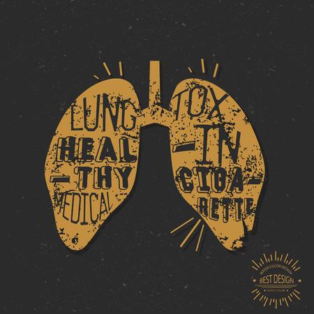 respiratory protection: Lung design retro concept Illustration