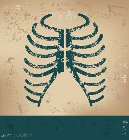 rib cage: Rib design on old paper background