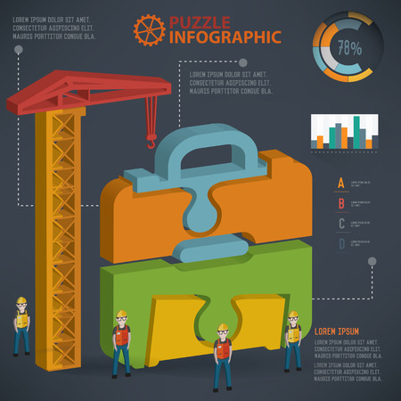 three dimension: Bag puzzle info graphic design,three dimension,clean vector Illustration