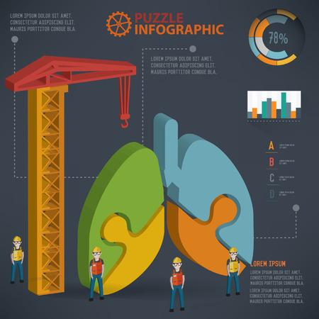 bronchiole: Lung puzzle design info graphic design.