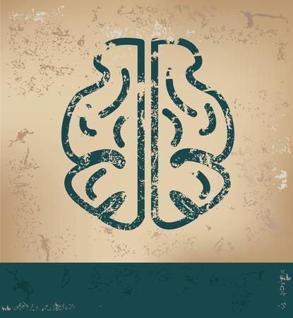 old paper background: Brain design on old paper background,grunge concept,vector