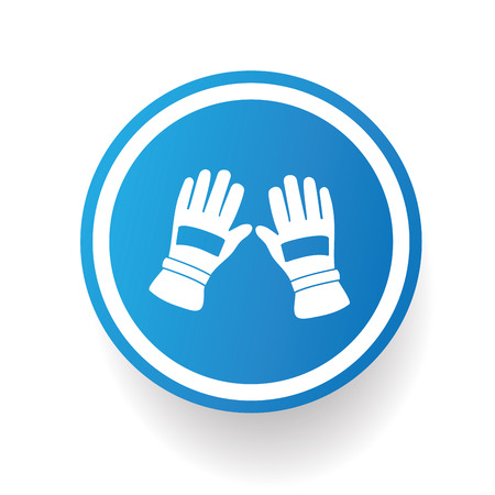 blue button: Glove icon design on blue button Illustration