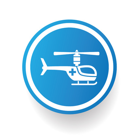 fuselage: Helicopter design icon on blue button Illustration