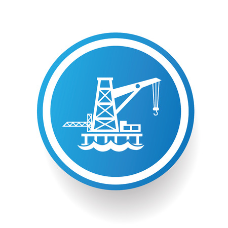 industry background: Oil industry icon on blue button,white background,clean vector Illustration