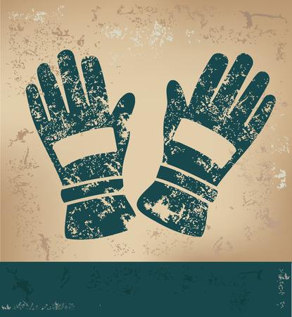 latex glove: Glove design on old paper background,grunge concept,vector