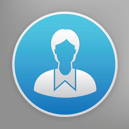 alumnus: Student design icon on blue button,clean vector Illustration