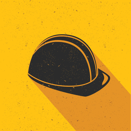se�ales de seguridad: Dise�o del sombrero de seguridad sobre fondo amarillo, dise�o plano, limpio vector Vectores