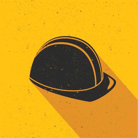 Safety hat design on yellow background,flat design,clean vector Ilustração
