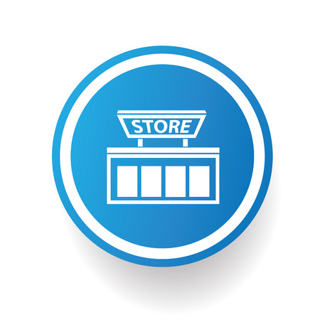 cash register building: Shopping store icon on blue button,white background,clean vector