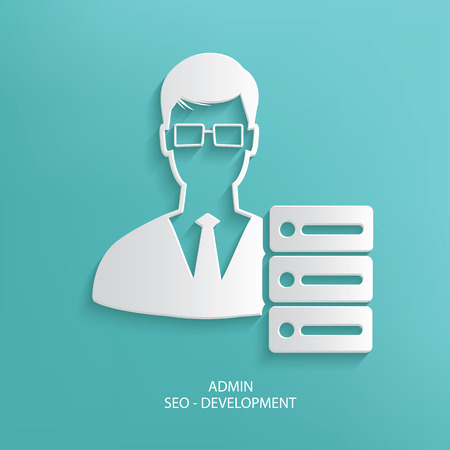 admin: Admin design on blue background,clean vector Illustration