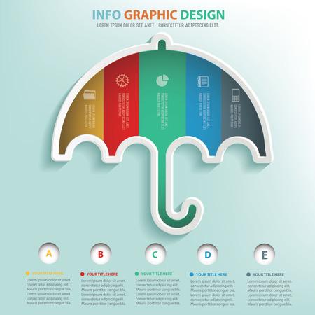 umbrella: Umbrella info graphic design, Business concept design. Clean vector. Illustration