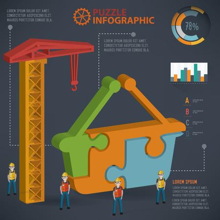 dimension: Basket puzzle info graphic design,three dimension,clean vector