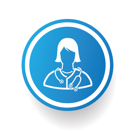 doctor icon: Doctor design icon on blue button,white background,clean vector Illustration