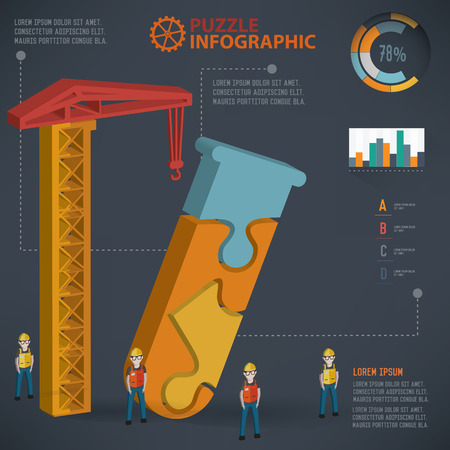 chemically: Science puzzle design info graphic design. Clean vector.