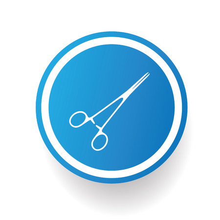 haircutting: Scissor,blue icon design on white background,clean vector Illustration